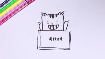 吃鱼的猫简笔画视频  吃鱼的猫简笔画步骤教程